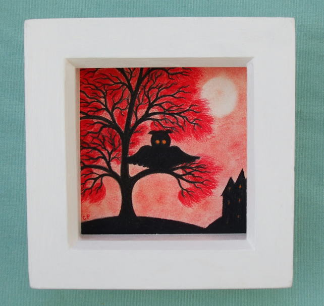 Owl Picture, Halloween Art Drawing, Framed Owl in Tree Silhouette, Halloween Owl