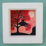 Owl Picture, Framed Tree, Original Art Drawing, Halloween Gift, Red Tree Owl