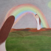 Rainbow Card, Mother Daughter Card, Rainbow Art Card, Spiritual Mother Child Art