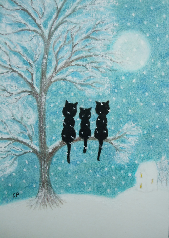 Cat Tree Print, Snow Art Picture, Fathers Day Gift, Three Black Cats Moon Print