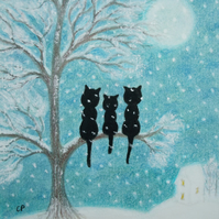 Cat Tree Print, Snow Art Picture, Christmas Gift, Three Black Cats Moon Print