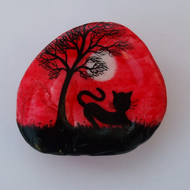 Painted Shell, Cat Moon Tree Painting, Black Cat Gift, Seashell Art, Silhouette