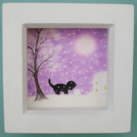 Cat Picture, Framed Snow Art Drawing, Kitten Daughter Gift, Black Cat Tree Moon