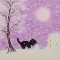 Cat Christmas Card, Purple Cat Snow Card, Daughter Christmas Card, Black Cat Art