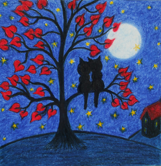 Cat Card, Romantic Valentines Card, Cats Tree Heart Moon Stars Card, Love Cats
