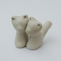 Two Cats Figurine, Clay Sculpture, Valentines Art, Cat Sculpture, Romantic Art