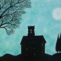 Cat Card, Romantic Moon Card, , Black Cats House Tree Silhouette, Love Card, Art