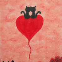 Cat Heart Card, Anniversary Card, Black Cats Love Card for Her, for Him Cat Art