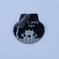 Love Card, Unique Valentines Cat Card, Hand Painted Shell, I Love You Cats Art
