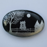 Cat Rock Painting, Wedding Anniversary Gift, Hand Painted Stone, Cats Moon Tree