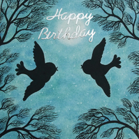 Birthday Card, Love Birds Card, Romantic Birthday Card, Bird Moon Stars Card