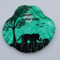 Mothers Day Gift, Hand Painted Elephants, Unique Mothers Day Shell, Elephant Art