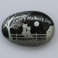 Mothers Day Cat Painting, Stone Art, Unique Mothers Day Gift, Cat Tree Moon Rock