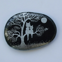 Painted Rock, Cat Tree Moon Painting, Stone Art, Kitten, Mother Gift, Cat Pebble