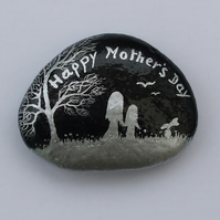 Mothers Day Gift, Hand Painted Rock, Mother Daughter Painting, Stone Art, Rabbit
