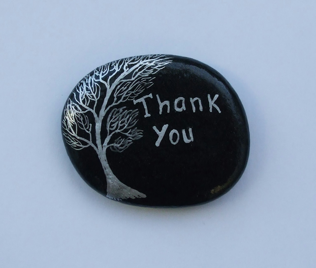 Thank You Gift, Unique Thank You Stone, Painted Rock, Thank You Tree Painting