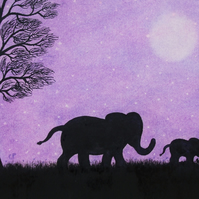 Elephant Card, Purple Mother Daughter Card, Baby Animal Card, Elephants Art Card