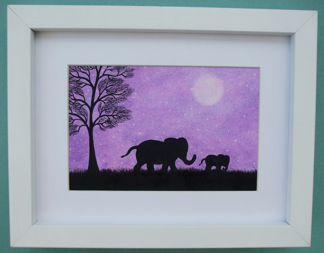 Elephant Art Gift, Purple Elephant Picture Framed, Mother Baby Animal Art Print
