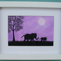 Framed Elephant Print, Mothers Day Gift, Purple Elephant Picture, Baby Elephant