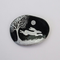 Hare Painting on Shell, Moon Hare, Art Gift, Hand Painted Rabbit, Miniature Art