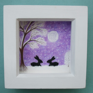 Rabbits Picture, Framed Snow Art, Purple Bunny Drawing, Black Rabbits Tree Moon