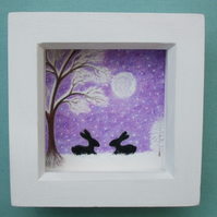 Rabbit Picture, Framed Bunny Snow Art, Purple Drawing, Easter Gift, Tree Moon