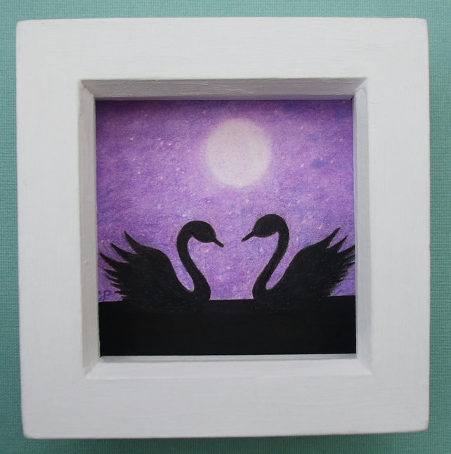 Swan Art Picture, Framed Swans Moon Drawing, Purple Swan Gift, Romantic Moon Art