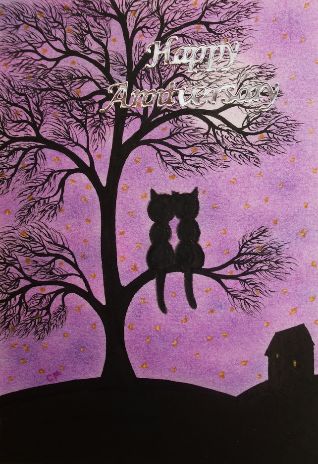 Anniversary Cat Card, Black Cat Tree Card, Romantic Anniversary Card, Cat Moon