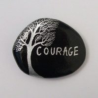 Courage Rock Painting, Hand Painted Stone, Tree Courage Painting on Pebble, Art