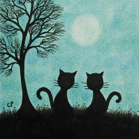 Cat Card, Two Black Cats Tree Card, Blank Cat Moon Card, Cat silhouette Art Card