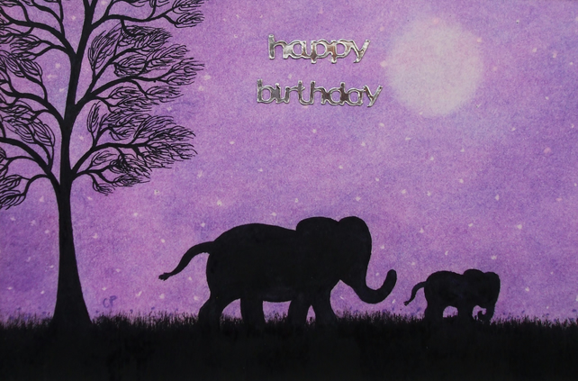 Birthday Elephant Card Purple Daughter Birthda