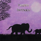 Birthday Elephant Card Purple, Daughter Birthday Card, Animal Mother Art Card