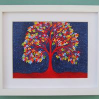 Tree Print Framed: Rainbow Tree Picture, Tree of Life, Birthday Gift, Art Print