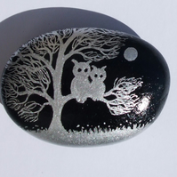 Owl Magnet:, Painted Rock, Owls Tree, Hand Painted Stone, Two Owls Pebble Art