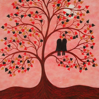 Tree Card, Couple Love Card, Romantic Tree Card, Twin Card, Soul Mates Card Tree