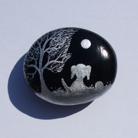 Hand Painted Dog, Rock Art, Dog Magnet, Dog Painting on Stone, Pebble Art Puppy