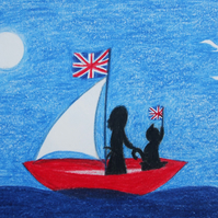 Brexit Card, Cat Boat Card, Union Jack Cat and Lady Card, Sea Card