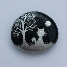 Cat Magnet, Painted Rock, Cat Moon Tree Painting, Stone Art, Cat Gift, Pebble