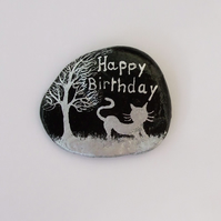 Cat Birthday Card: Hand Painted Happy Birthday Card, Cat Tree, Shell Art Card