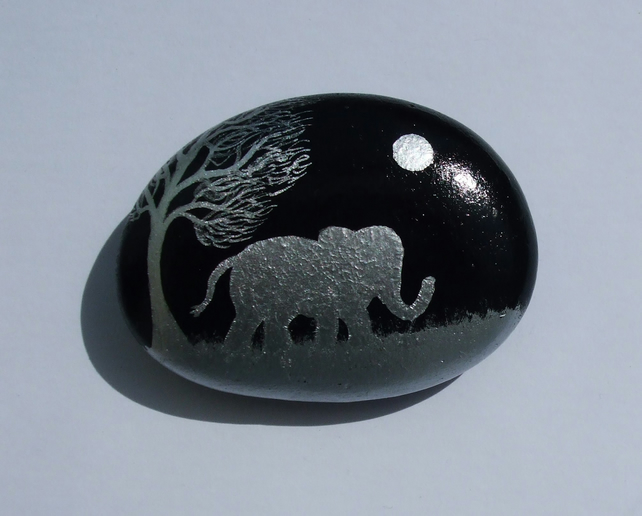 Elephant Gift, Painted Rock, Stone Art, Hand Painted Elephant Moon Tree, Pebble
