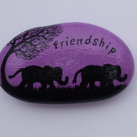Unique Friends Gift, Elephant Painting on Stone, Hand painted Rock Elephant Art