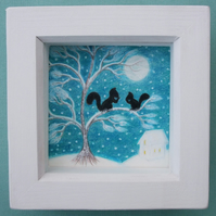 Squirrel Gift, Christmas Picture, Framed Tree Drawing, Snow Art, Moon Squirrels