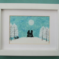 Snow Picture, Framed Romantic Spiritual Art, Snow Couple Lyre Moon Gift Art