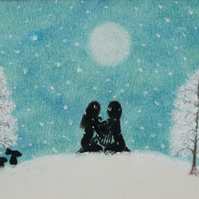 Christmas Picture, Framed Romantic Spiritual Art, Snow Couple Lyre Moon Gift Art
