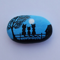Painted stone, Cat Magnet, Hand painted Rock, Three cats Tree Moon, Blue Pebble