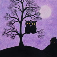 Owl Card, Purple Tree Art Card, Two Owls Moon, Unique Silhouette Art Card