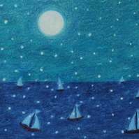 Sea Picture, Framed, Sailing Boats Snow Moon Drawing, Winter Art Painting, Blue
