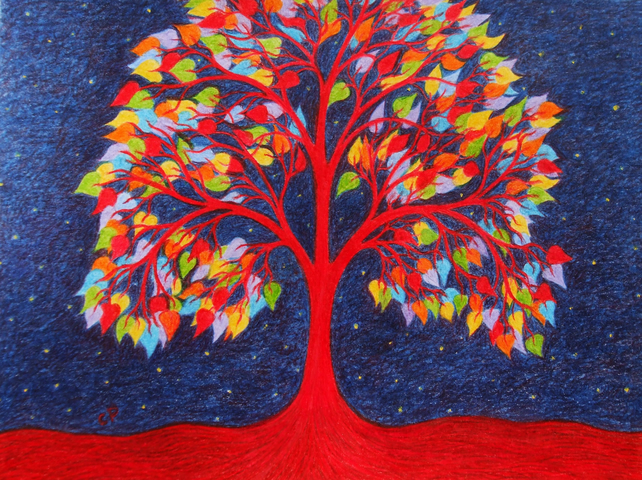 Tree of Life Card, Spiritual Rainbow Tree, Symbolic Art Card, Sympathy Card Tree