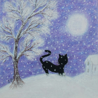 Black Cat Card, Purple Snow Art Card, Cat Tree Moon, Daughter Card, Mother Card