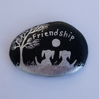 Friendship, Hand Painted Pebble, Friends Dog Gift, Rock Art, Two Dogs Moon Stone